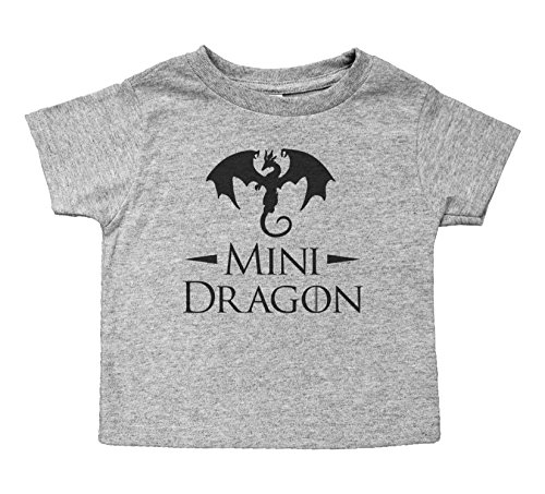 Mini Dragon / Funny Toddler T-shirt / Unisex Toddler Tee / Crewneck / Baffle (3T, Gray) (Dragon Girl Game Of Thrones)