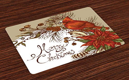 (Lunarable Cardinal Place Mats Set of 4, Vintage Inspirations in Floral Arrangement of Christmas Poinsettia and Pine Cones, Washable Fabric Placemats for Dining Room Kitchen Table Decor, Vermilion Tan)