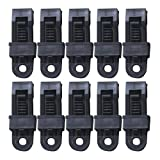 zinnor Heavy Duty Plastic Shark Trap Clips, Plastic Tent Clamp Jaw Tent Snaps hangers Camping Clamp Clips Tent Tighten Lock Grip For Outdoors Camping Farming (Black, Pack of 10)