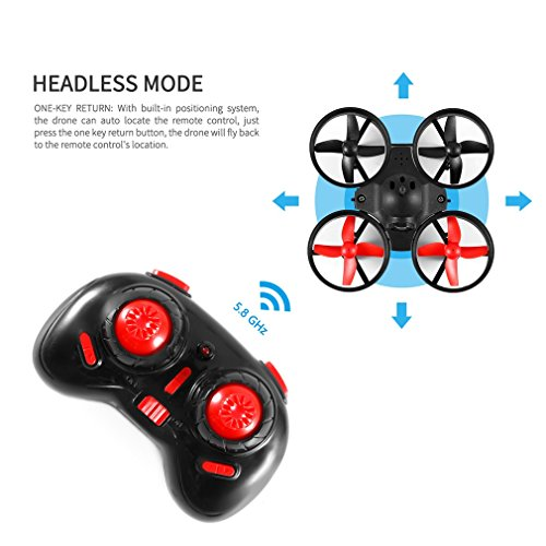 Quadcopter Drone, OCDAY Mini RC Helicopter Drone 5.8G 25mW PoKe FPV Indoor Mini UFO Quadcopter Drone Headless Mode Remote Control With Camera Black & Red