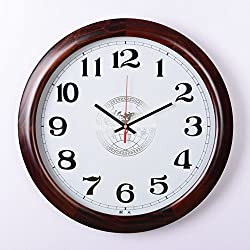 Large solid wood wall clocks,Silent movement Simple [fashion] Living room Conference room wall clocks Large number Old people-A 20inch