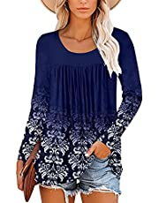 ELF QUEEN Pleated Floral Print Round Neck Blouses Short and Long Sleeve U Neck Tunic Top Shirt for Womens