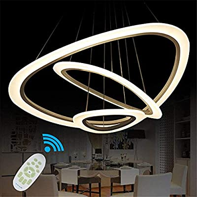 Ziplighting LED Chandelier Modern Pendant Light with 3 Rings Round Ceiling Fixture Adjustable Pendant Lighting Contemporary Ceiling Light for Bedroom Living Dining Room Kitchen Island with Remote