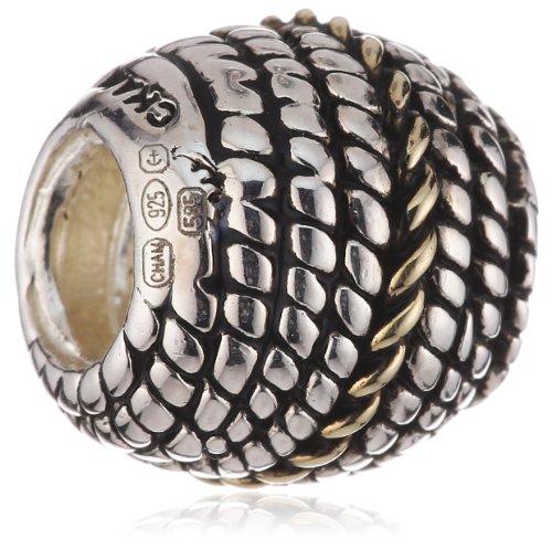 Authentic Chamilia Silver & 14k YG Rope Charm - KB-2 (14k Rope Yg)