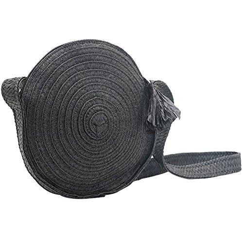 main paille circulaire sac lune bambou sac main femmes Sac bambou yunt bandoulière pour demi sac fourre arche sac sac les bandoulière tout à Black en d'été sac à de RZaaWHn7