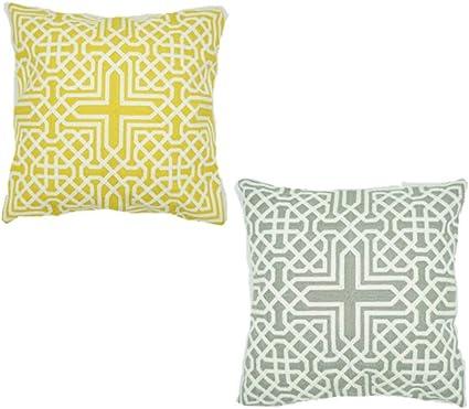 Image ofcaogsh Cojín Lumbar Bordado, cojín Decorativo para sofá, diseño geométrico, cómodo y Suave Estilo nórdico, Funda de cojín Bordada, 45 x 45 cm (Amarillo, Gris y 2 Unidades)