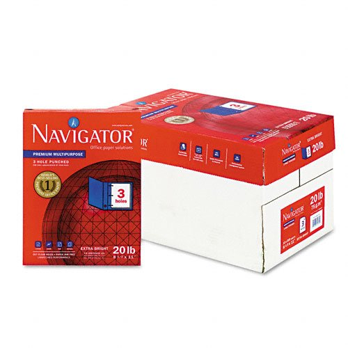 Navigator Premium Copy/Laser/Inkjet 3-Hole Punched Paper, 97 Brightness, Letter Size (8.5 x 11), White, 5000 Sheets (NMP113HP)