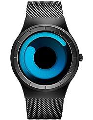 SINOBI Stylish Mens Womens Quartz Wrist Watch with Unique Dial Swirl Pointer Design and Stainless Steel Milanese...