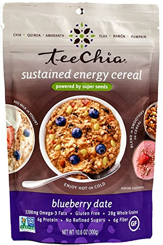 (TeeChia Six Organic Super Seeds Cereal, No Sugar Added, Gluten Free, Non-GMO, Blueberry Date, 10.6 Ounce)