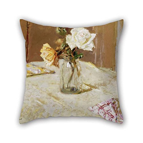 Pillow Cases of Oil Painting Edouard Vuillard - Roses in A Glass Vase for Gf Seat Wife Kids Girls Dining Room Study Room 16 X 16 Inches / 40 by 40 cm(Each Side)