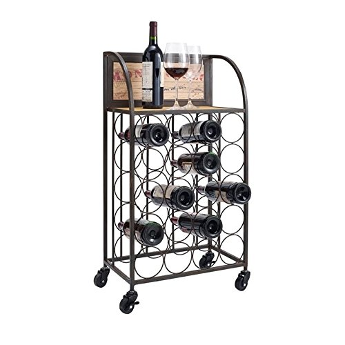 Wood and Metal Wine Rack with Wheels by Linon