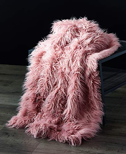 (Orient Home Collection De Moocci Luxury Super Soft Mongolian Faux Fur Throw Blanket, 50 in 60 in, Cozy Warm Breathable, Best for Winter - Décor for Couch Bed, Pink)