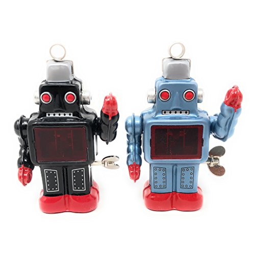 Burekiya Vintage Retro Tin Wind-up Toy - Two Sparkling Robot Set