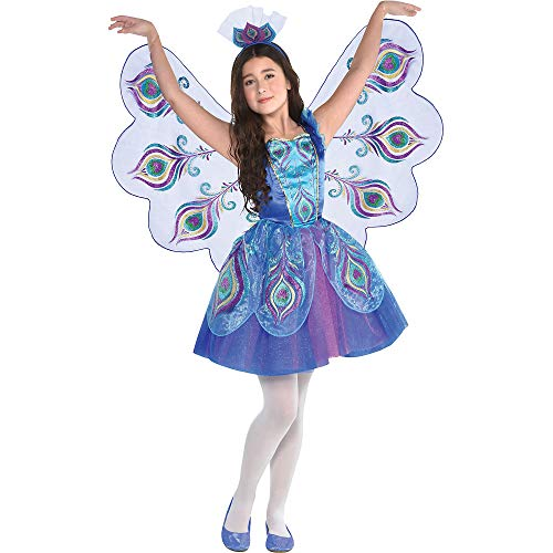 Pretty Girl Halloween Costumes (Suit Yourself Pretty Peacock Costume for Girls, Size Small, Includes a Detailed Dress, Matching Wings, and a)