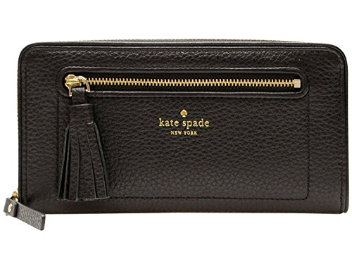 Kate Spade New York Chester Street Neda Pebbled Leather Zip Around Wallet (Black) - Black Pebbled
