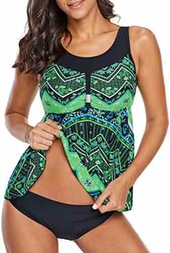 e6b77a3ccd ENLACHIC Womens Striped Printed Flowy Tankini Swimsuit Swim Top M-3XL Plus  Size