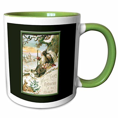 3dRose BLN Vintage Christmas Designs - Many Happy Returns of the Day Vintage Christmas Card with Sants in a Winter Scene - 11oz Two-Tone Green Mug (mug_153296_7) Vintage Design Photo Christmas Cards