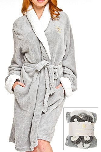 Adrienne Vittadini Women's Soft Plush Comfy Sherpa Lined House Bath Robe & Sherpa Printed Slippers Set,Robe-One Size/Slippers-L(9)/XL(11),Light Grey With Grey Zebra Slipper