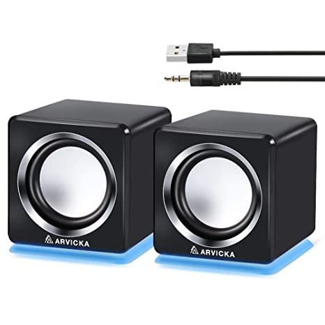 arvicka Speakers- LED azul USB Wired portátil altavoces 2.0 Canal Pequeño ordenador altavoces de escritorio