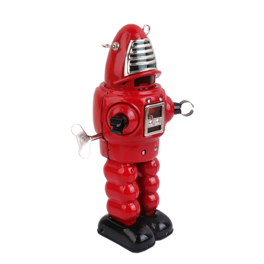 Vintage Wind Up Robot Toy Red Generic