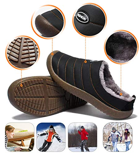 Slippers Waterproof Lined Fur Black Womens on Soft Yoobc Slippers Shoes Mule Mens Cotton Winter Slip Winter RZqww8z0H