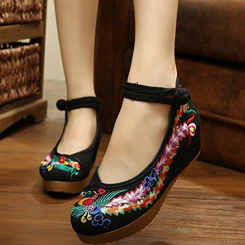 Sandals Shoes Women's Platform Embroidery Walking Black Phoenix Oxfords Casual Shoes BycCqTR
