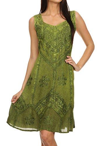 Sakkas 1503 - Sudha Stonewash Embroidery Mid Length Adjustable dress - Green - 1X/2X