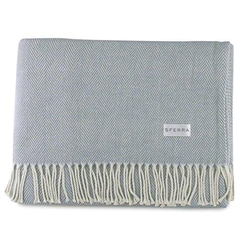Sferra Celine Herringbone, 100% Cotton Throw Blanket - Slate Blue from Sferra