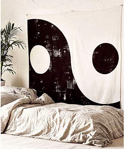 Oyeahbridal Black White Ying Yang Tapestry China Taiji Tapestries Psychedelic Mandala Tapestry Wall Hanging Throw Dorm Bedroom Wall - Tapestry Black Silk