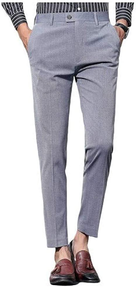YAXINHE Men's Pockets Solid Mid Waist Classic Fit Flat-Front Zip Up Work Pant