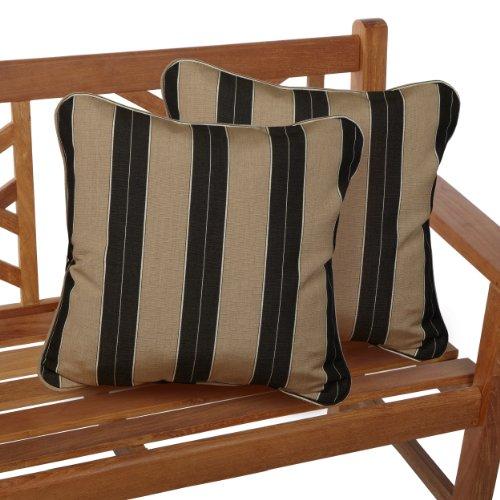 ella Indoor/Outdoor 18-inch Corded Pillow, Berenson Tuxedo, Set of 2 ()
