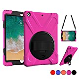 New iPad 9.7 2018 2017 Case - iPad 5th 6th Gen Case - Protective Case with Shoulder Strap - Hand Grip & 360 Rotating Stand - Heavy Duty Apple Tablet Cover for Kids 9.7 Inch A1822 A1823 A1893 A1954 (Pink)