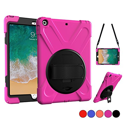 (New iPad 9.7 2018 2017 Case, iPad 5th 6th Gen Case, Protective Case with Shoulder Strap, Hand Grip & 360 Rotating Stand, Heavy Duty Apple Tablet Cover for Kids 9.7 Inch A1822 A1823 A1893 A1954 (Pink))