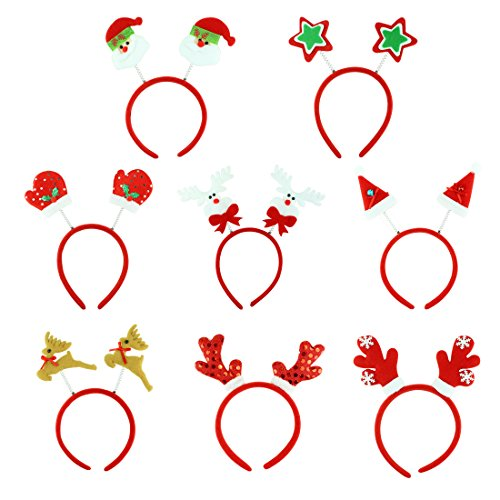 8 People Costumes (8 Pieces Christmas and Holiday Party Santa Headbands Reindeer Antler Hair Bands)