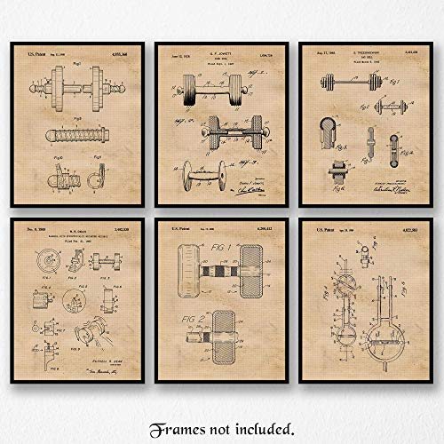 Original Gym Barbell Patent Poster Prints, Set of 6 (8x10) Unframed Photos, Wall Art Decor Gifts Under 20 for Home, Office, Garage, Man Cave, Student, Teacher, Coach, Trainer, Body & Cross Fit Fan