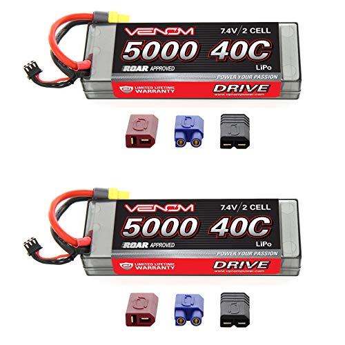 (Venom Sport Power 40C 2S 5000mAh 7.4V LiPo Battery ROAR with Universal Plug (EC3/Deans/Traxxas/Tamiya) x2 Packs)