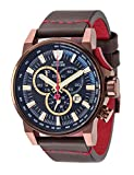 DETOMASO BOTTONE Men's Watch Chronograph Analog Quartz Brown Leather Strap Black dial DT1064-D