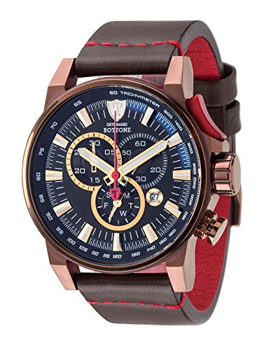 DETOMASO BOTTONE Mens Chronograph XL Watch Tachymeter, Brown Stainless Steel Casing and Leather Strap