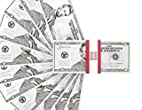 Realistic Double Sided Prop Money - Set of 100 $5 Dollar Bill Total $500 with Red Currency Strap - Full Print Paper Cash for Movie; TV; Videos; Pranks; Advertising & Novelty, 6.25 x 2.5 Inches