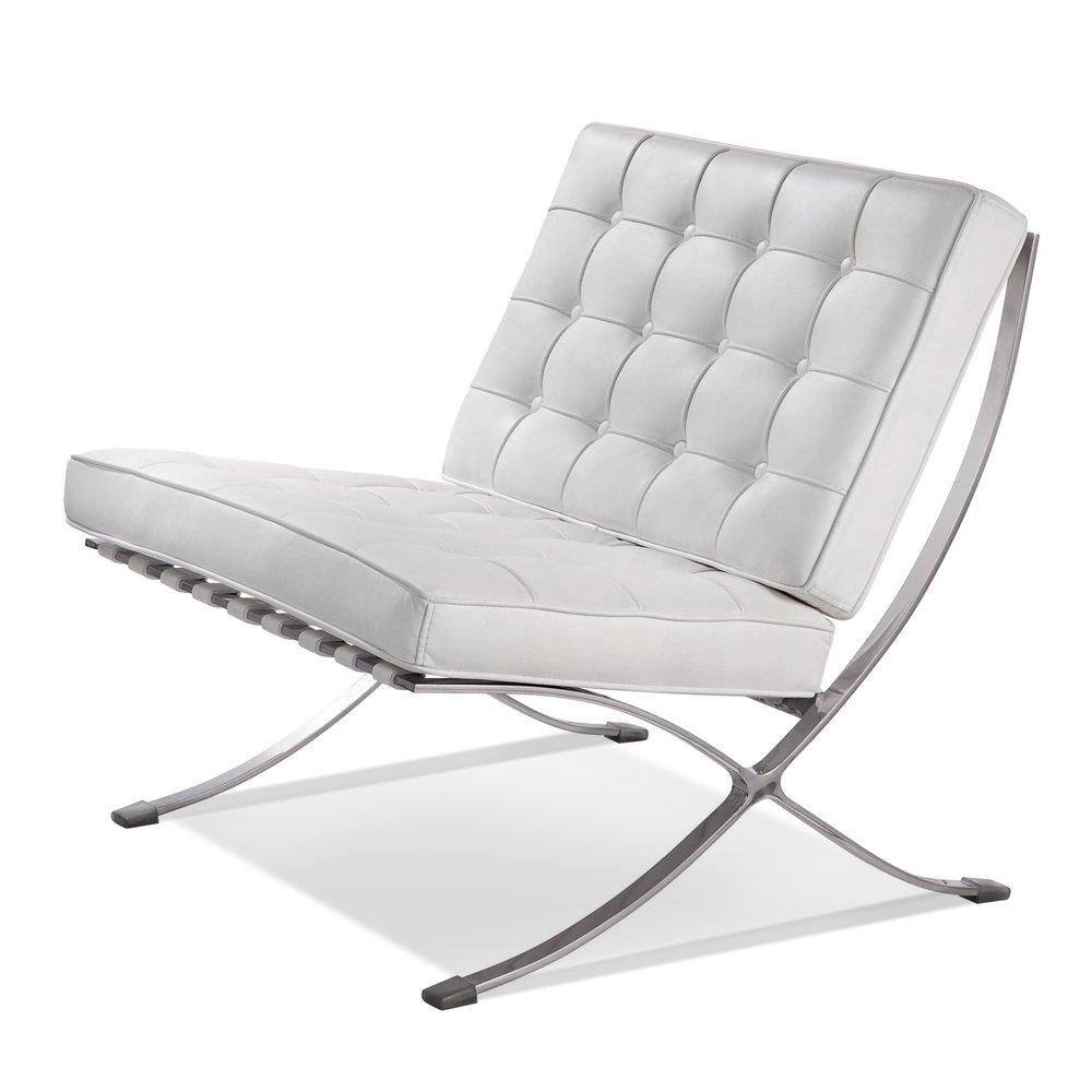 ArtisDecor Premium Lounge Chair Made with Top Grain Italian Leather - White