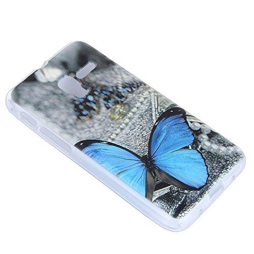 Lusee® Funda de silicona para Alcatel Onetouch pop 3 5.0 (5015D) Suave Cascara TPU mariposa azul