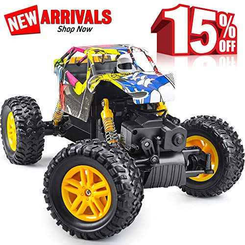 DOUBLE E Newest 2.4 GHz High Speed Remote Control Car 1/18 Scale Off Road RC Trucks with Rechargeable Batteries RC Cars for Kids