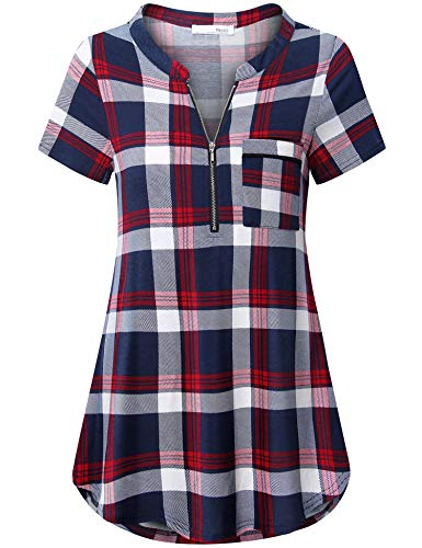Messic Short Sleeve Shirts for Women, Ladies Zipper Henley V Neck Tunic Blouses Mandarin Collar Curved Hem Summer Dressy Tops Flowy Loose Fit Casual Plaid Print Tee Shirt Red Blue M