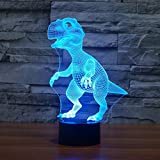 SUPERNIUDB Dinosaur 3D Night Light Touch Table Desk Lamp 7 Colors 3D Optical Illusion Lights Christmas Gifts