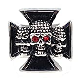 LILILEO Jewelry Stainless Steel Men's Rings Retro Cross 3 Red Eye Skulls Punk Ring