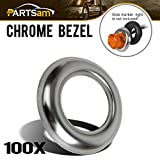 Partsam 3/4'' round Stainless Steel Trim Ring Bezel For 3/4'' Accent Marker Lights and all 3/4'' Round Marker Clearance Lights (Pack of 100)
