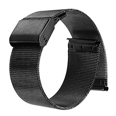 20mm Mesh Stainless Steel Milanese Loop Replacement Watch Band For 20mm Pebble Time Round, Gear S2 Classic SM-R7320 (YESOO Retail Packaging - 180 Days Warranty) (Loop (Pebble Steel Black Watchband)