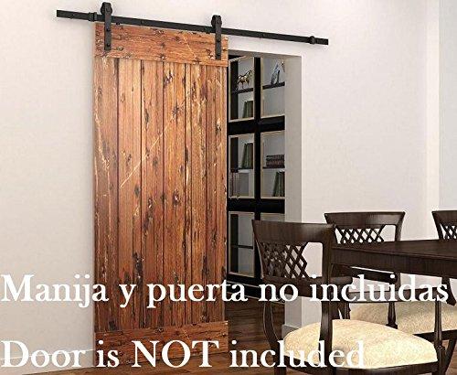 (DIYHD 8ft Rustic Black Bent Straight Roller Barn Wood Closet Interior Door Sliding Track Hardware Kit, Single)