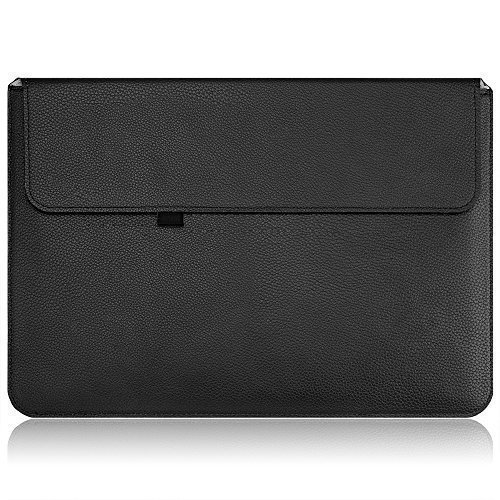 Price comparison product image Macbook Pro Case Sleeve (13.3 inch, 2016 Released), OMOTON [Anti-Scratch] [Full Protective] [Water-Proof] Thinnest and Lightest PU Leather Wallet Sleeve for Macbook Pro 13.3 inch with Touch Bar, Black