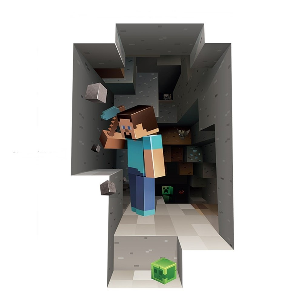 Amazon com  3D Minecraft Style Wall Decal Poster STEVE Sticker Room Bedroom  Decor Video GameUS Shipping  Toys   Games. Amazon com  3D Minecraft Style Wall Decal Poster STEVE Sticker